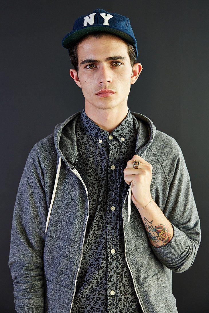 BDG Speckled Raglan Zip-Up Hoodie Sweatshirt