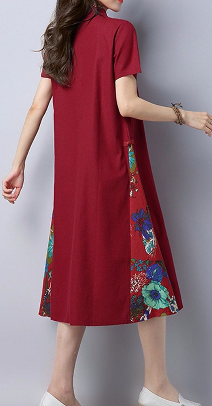 Women loose fitting over plus size flower embroidery dress plate buckle tunic | Clothing, Shoes & Accessories, Women's Clothing, Dresses | eBay!