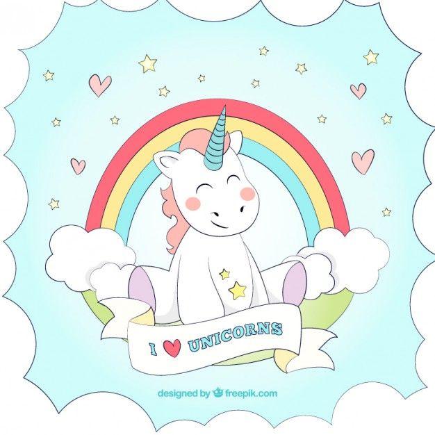 Fondo de unicornio dibujado a mano con un arcoiris Vector Gratis
