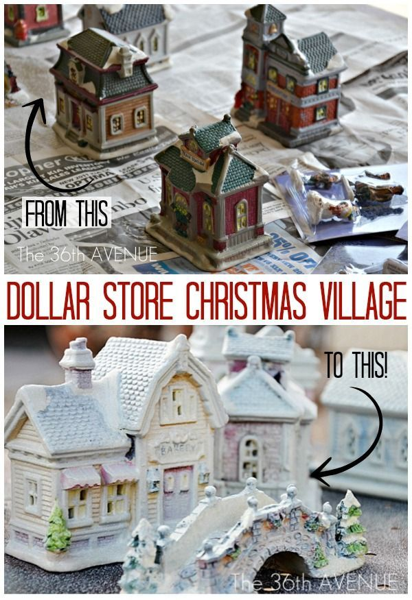 Christmas Craft - Dollar Store Christmas Village. Amazing what a little paint can do. Tutorial at the36thavenue.com