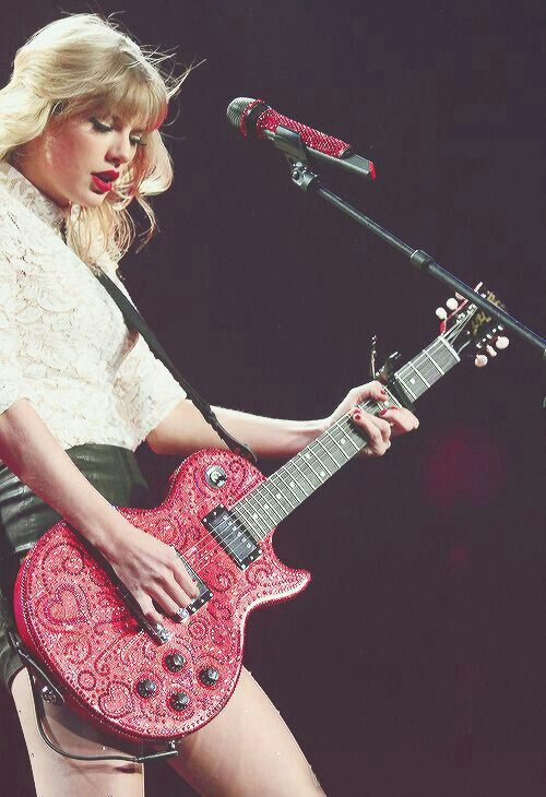 Rocking the red guitar!