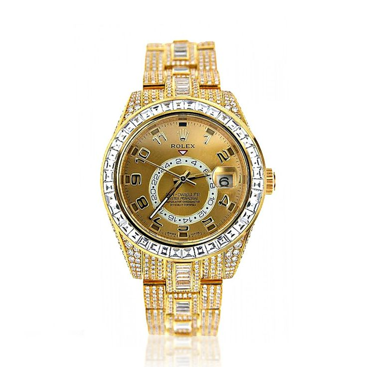 This Custom Fully Iced Out 18K Yellow Gold Diamond Sky Dweller Rolex Watch for Men is featuring 45 carats of baguette and round diamonds masterfully set on 18K gold bracelet and bezel. Its red triangle always points to the time at home, while its conventional hands can be set to a second time zone. The distinctive timepiece for global executives. This is a pre-owned Rolex diamond watch in excellent condition.