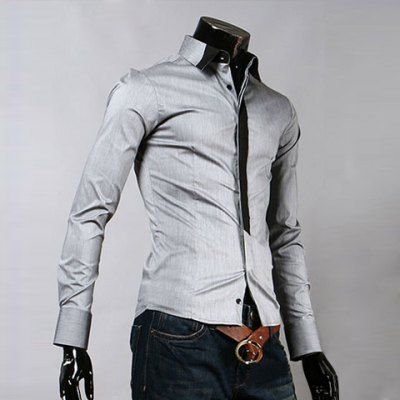 Sophisticated Fit Long Sleeves White Gray Cotton Shirt For Men (GREY/GRAY,M) | Everbuying.com
