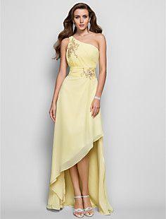 A-line/Princess One Shoulder Asymmetrical Chiffon Evening/Pr... – USD $ 79.29