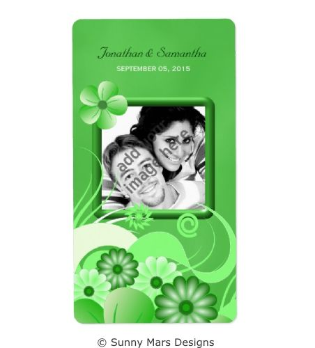 Green Floral Hibiscus Custom Photo Wedding Save The Date Wine Labels,Favors or  Favours Labels by sunnymars  of SunnyMarsDesigns in association with Zazzle. This stylish, trendy, modern, chic customizable wedding label features an elegant green swirly tropical flower decoration design.  Click through to see matching wedding stationery and other related products.