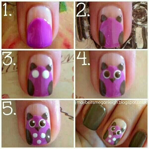 Owl Nail Art Tutorial Cute Step By Step Nails Step By Step Nail Art Pinterest Owl Nail Art