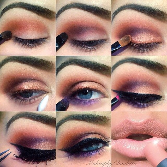 Purple peach eye makeup step by step tutorial #evatornadoblog #howto #stepbystep