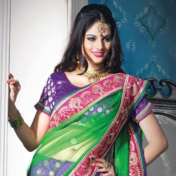 Parrot #Green and Purple Net Lehenga Style #Saree With Blouse