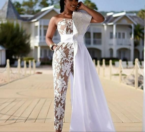 White Women Prom Jumpsuit Wedding Jumpsuit Women S Party Etsy In 2020 African Prom Dresses African Wedding Dress Bridal Jumpsuit