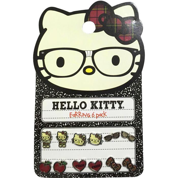 Бесплатная доставка специально разработанный привет котенок с очки серьги и эмалированные яблоко, в форме сердца и с бантом комплект серег
