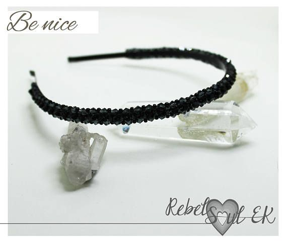 Black Headband crystal headpiece Beaded crown classic