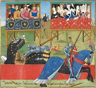 Note the servant making his way up the ladder into the gallery.......Jean de Saintré jousts with the Spanish knight, British Library Cotton Nero D. IX f.40 - France 1470