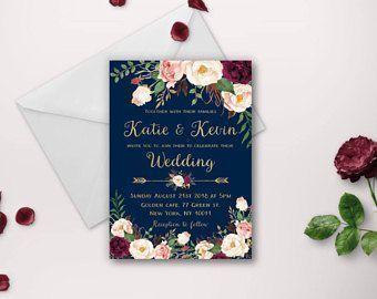 Wedding invitation, wedding invitations, printable invitation, wedding invite, invitation template, navy gold marsala wedding invites diy #weddinginvitations