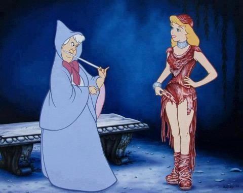 Cinderella in Gaga's meat dress. epic