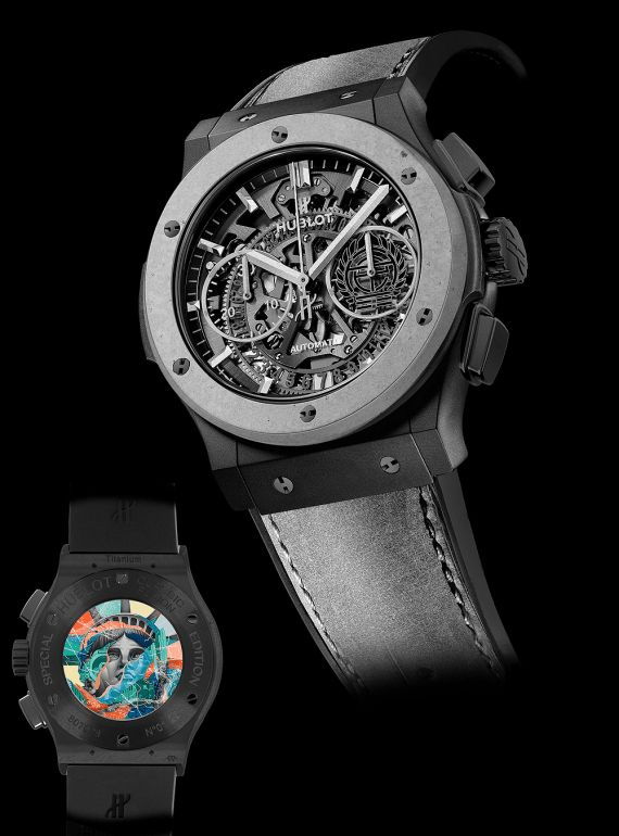 """The Hublot Classic Fusion Aerofusion Chronograph Special Edition Concrete Jungle is limited to 50 pieces and co-designed with renowned street artist Tristan Eaton. On its glass caseback window is a miniaturized version of Eaton's well-known graffiti art piece, """"Liberty,"""" showcasing the artist's signature collage technique. More @ http://www.watchtime.com/wristwatch-industry-news/watches/hublot-introduces-its-first-concrete-watch-in-tribute-to-new-york-city/ #hublot #watchtime #chronograph"""