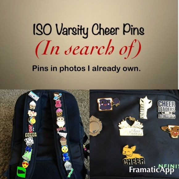 ISO Varsity Cheer Pins   Cheerleading Looking to buy Varsity trading pins Varsity Accessories
