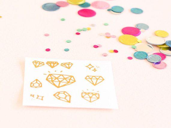 Set of 15 diamond bachelorette tattoo, bachelorette party favor, bride tribe, flash tat, bridesmaid gift, metallic tattoo