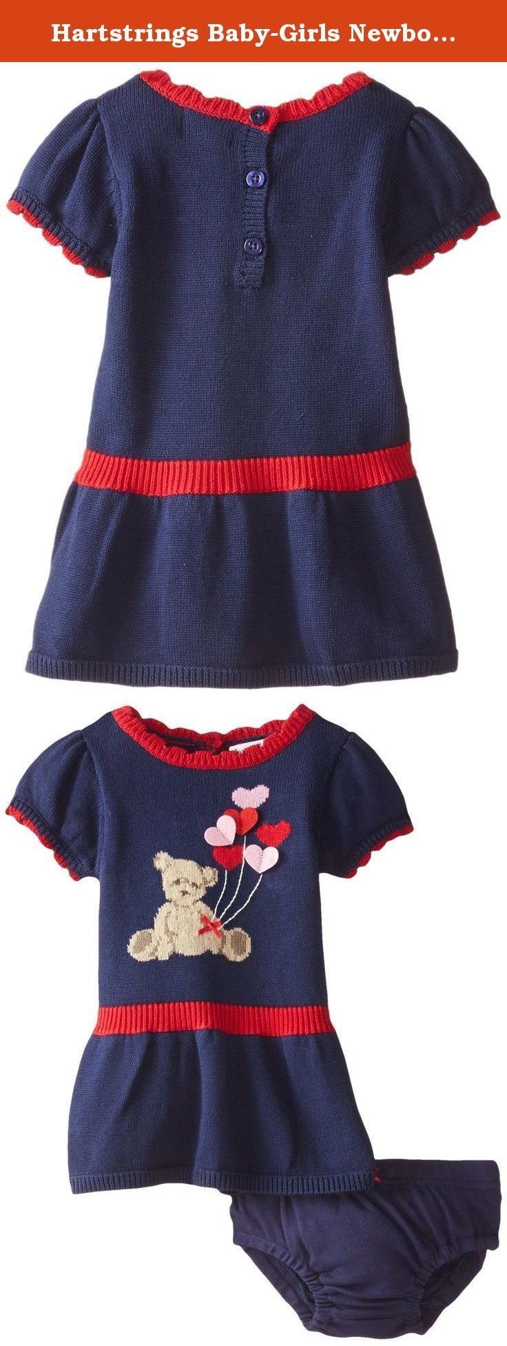 Hartstrings Baby-Girls Newborn Bear Sweater Dress and Panty Set, China Blue, 0-3 Months. Baby girls cotton sweater dress and diaper cover set.