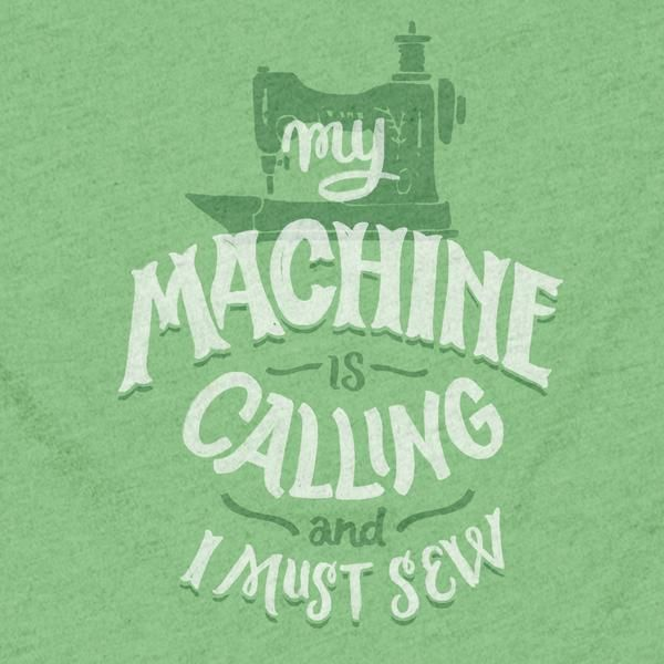 """The Stately Type """"My Machine is Calling and I Must Sew"""" t-shirt features the hand-lettered phrase """"My machine is calling and I must sew"""" below a hand-drawn vintage sewing machine in white and green on a apple green poly/cotton crewneck or v-neck tee."""