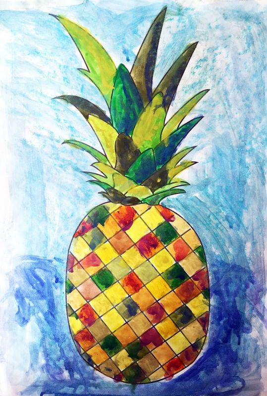 Tropical fruit themed fun with watercolours, free template included
