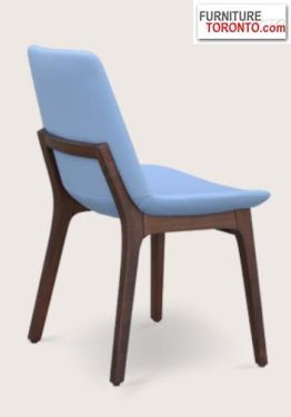 """This is a contemporary chair with a comfortable upholstered seat and backrest on a solid walnut beech. The seat has a steel structure with """"S"""" shape springs for extra flexibility and strength. This steel frame is molded by injecting polyurethane foam. Its seat is upholstered with a removable velcro, enclosed  slip cover. It may be upholstered with variety of other colors.The chair is suitable for both residential and commercial use."""