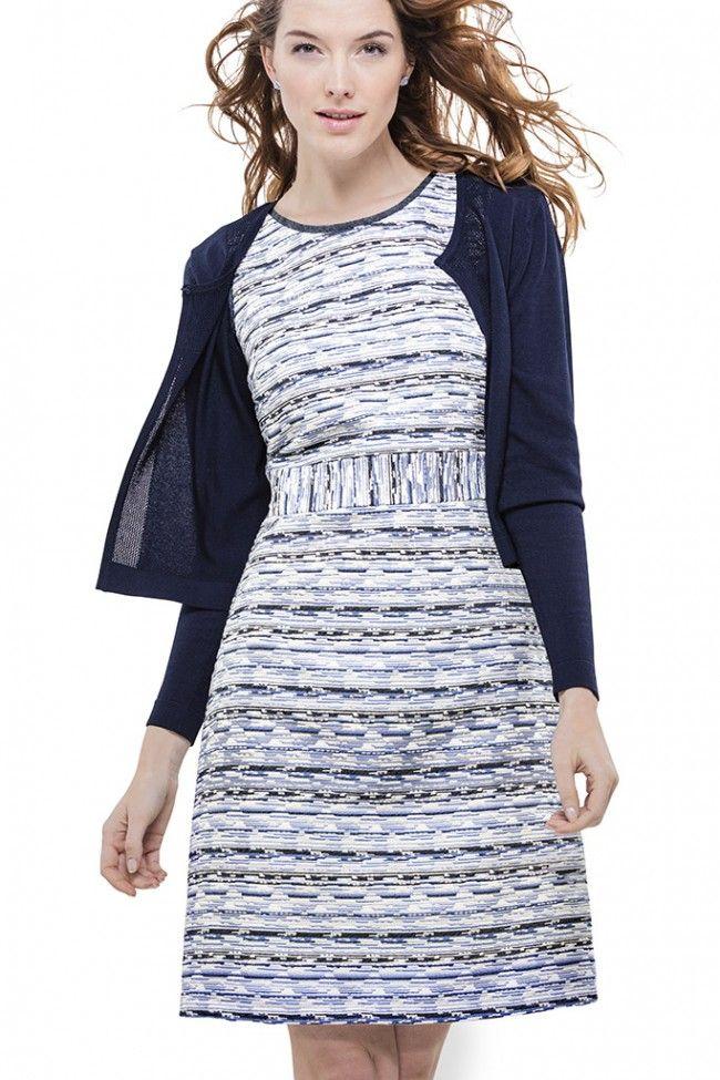 Blauwe jurk jacquard