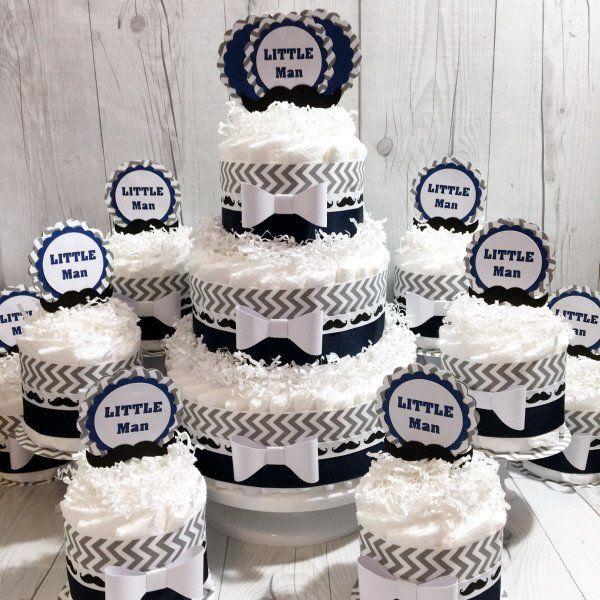 Navy and Gray Chevron Little Man Baby Shower Diaper Cake Centerpiece Set