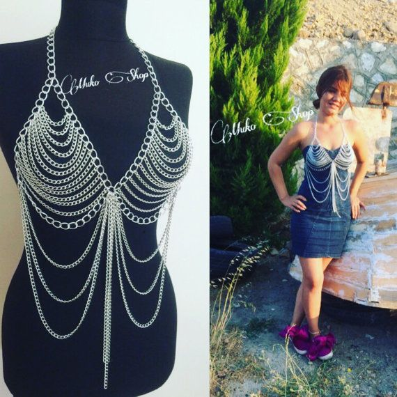 MukoShop silver body chain... but this dumb cunt thinks it wears it over clothes.