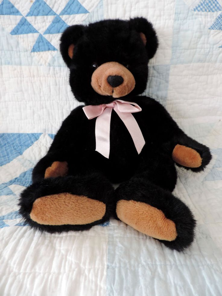 """Buy it Now """"INKSPOT"""" by Russ Berrie & Company Black Teddy Bear with Pink Bow  