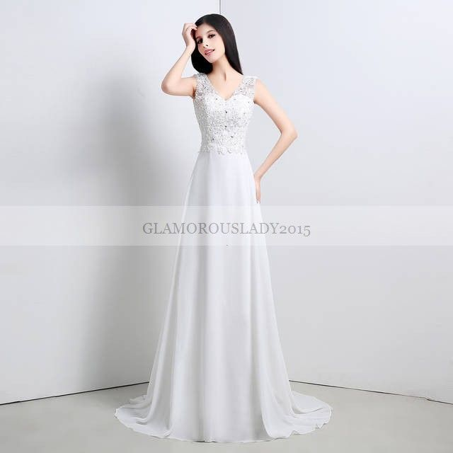 >> Click to Buy << Sheer Tank A-Line Wedding Dresses Sleeveless Summer Garden Dress Back is Ribbon and Zipper V-Neck Lace Actual Picture Chiffon #Affiliate