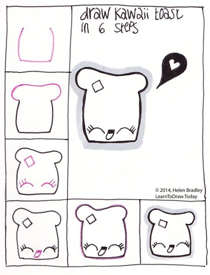 Draw Kawaii Toast Step By Step Drawing Ideas Drawings Kawaii