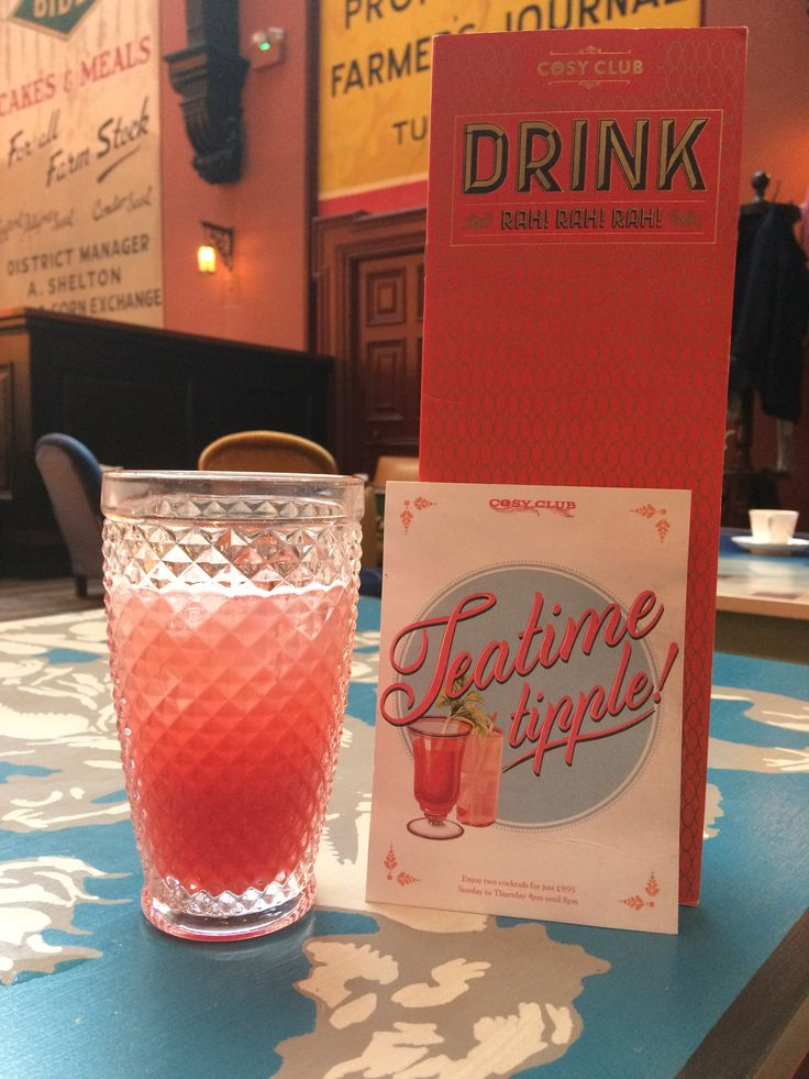 Teatime tipple deal Sunday to Thursday 4pm until 8pm Any two cocktails for just £9.95  Excludes  pitchers . This offer will be  not available between 13 December 2017 and 1st of January 2018