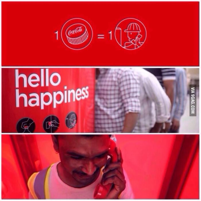 This is a phone booth which accepts CocaCola bottle caps instead of coins for a free 3-minute international phone call.