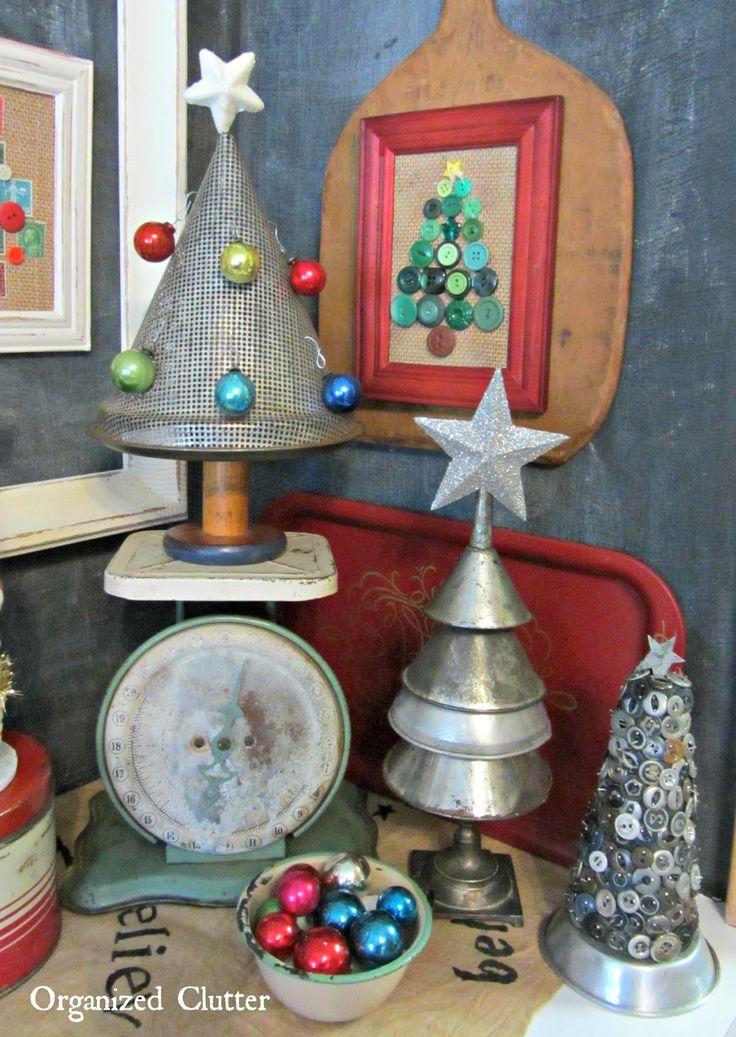 Re-Purposed Alternative Christmas Tree Vignette www.organizedclutterqueen.blogspot.com