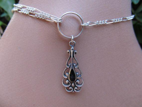 ornate black onyx sterling silver anklet ankle bracelet