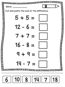Addition and Subtraction Worksheets - This Addition and Subtraction product contains 10 worksheets that ask the students to add or subtract  and then cut and paste the sum or the difference for numbers up to 20.Differentiation: you can let your students use counters for adding and subtracting the numbers.Thanks.Happy teaching!Dana's Wonderland