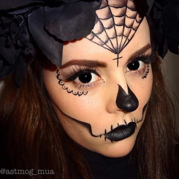 All Black Sugar Skull Halloween Makeup Look