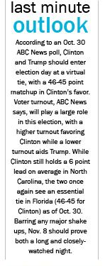 In our November 4 issue of the Southworld, we included the most updated election outlook we could while working with the printer's schedule, and in writing the outlook I consulted sources such as CNN, ABC News, and USA TODAY.