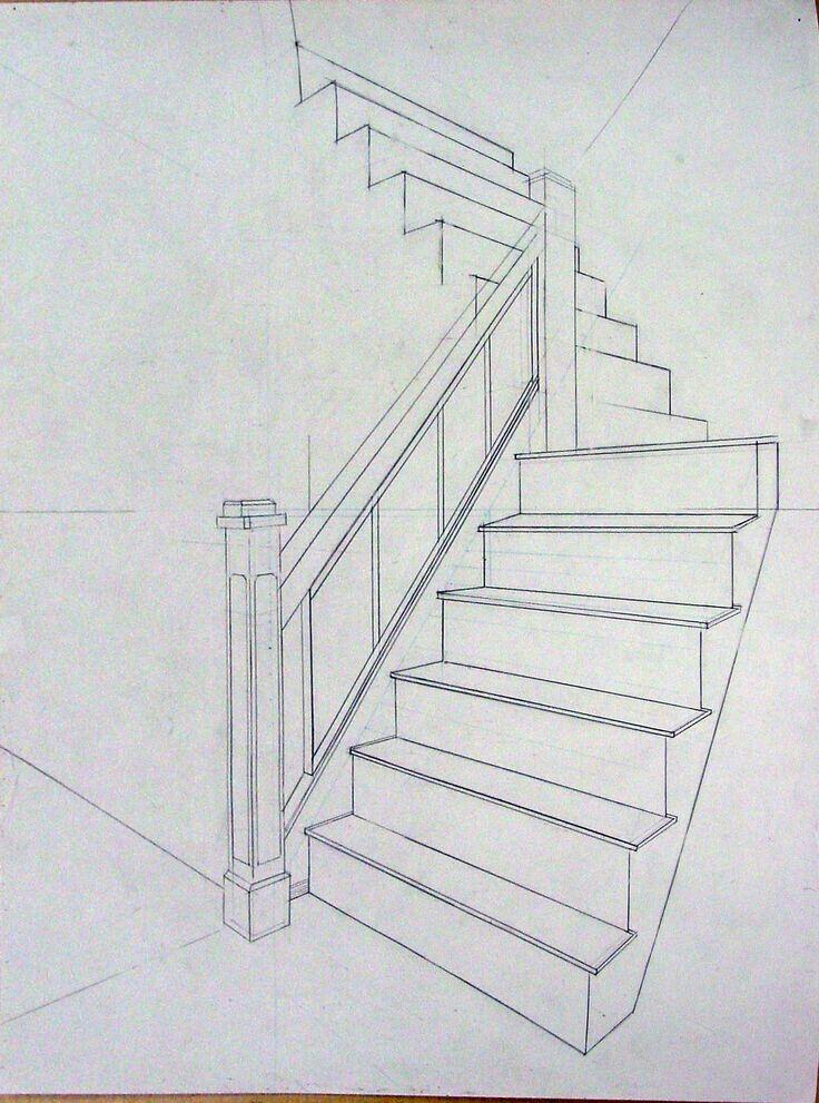 Perspektif merdiven cizimi.