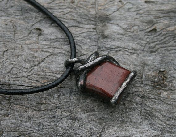 tiger eye pendant brown pendant buffalo eye by Blacksmithworkshop