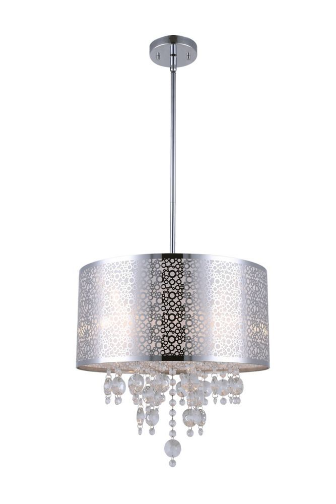 PIERA 4 Light Chrome Chandelier with Crystal Drops