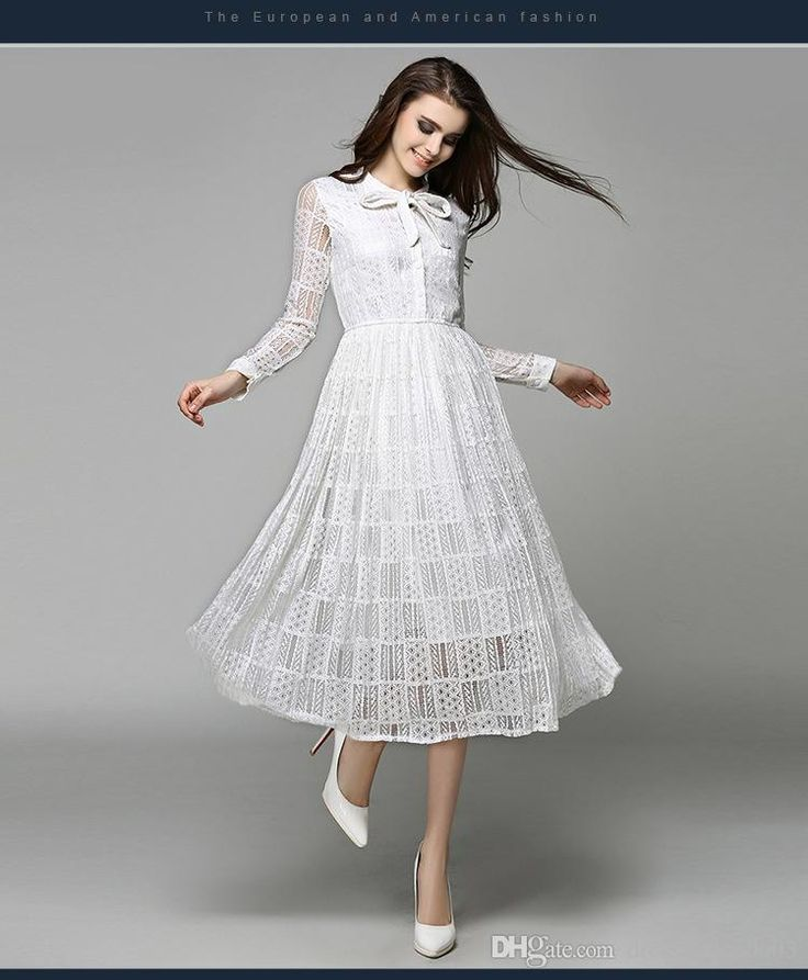 2017 Charming White Dress 2017 Spring Pretty Lace Long Sleeves Prom Dresses Cheap Bow Neck In Stock From Dressonline0603, $67.63   Dhgate.Com
