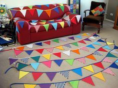 Fabric bunting for a circus themed birthday party.