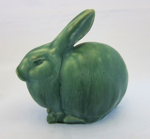 1965 ~ Rabbit Paperweight Figurine with Green Glaze .... by Rookwood Pottery Production ....
