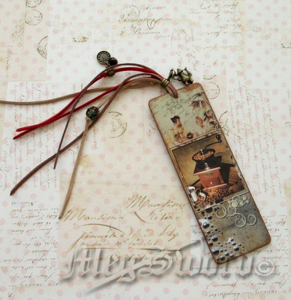 WOODEN BOOKMARK coffee handmade decoupage one copy by MEGSWORD
