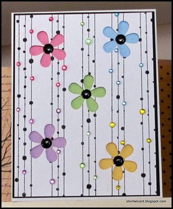 Cute card. Easy flower cuts, draw lines with marker, adhere rhinestones. Voila!