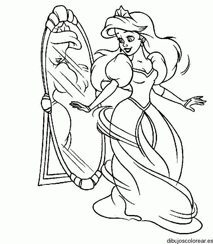 Dibujo de un princesa bailando frente al espejo   Dibujos ...