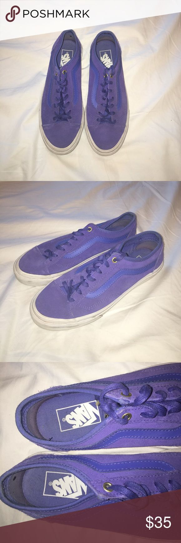 Purple Vans Like new condition purple vans.  Gold lace holes and dark blue leather sides! Truly a fun and funky pair of shoes! Vans Shoes Sneakers