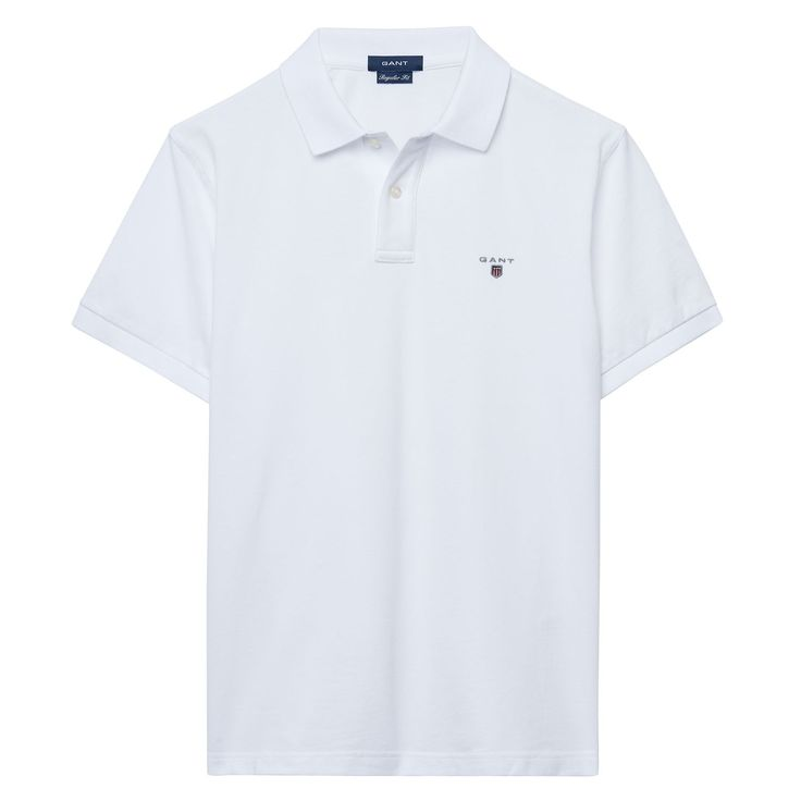 GANT Solid Pique Short Sleve Polo White