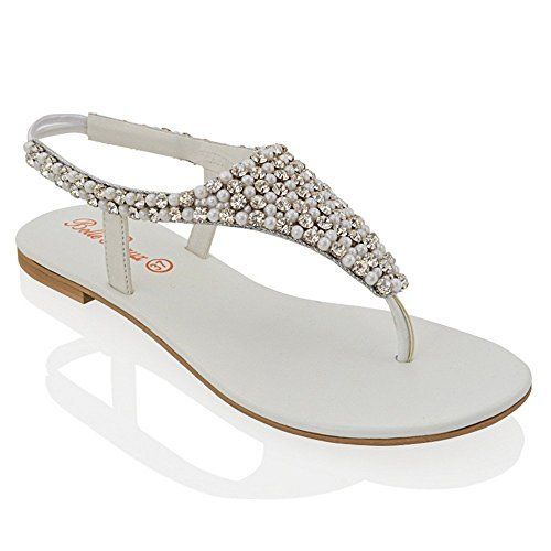 Essex Glam - Women's Sparkly Slingback Diamante Sandals   - High Quality Materials   - Elasticated Back For Easy Wear   - Available in Black Silver White Nude & Gold   - Ideal for Holiday Wedding...
